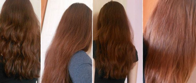 Before and after pictures, results of using honey to lighten dark hair