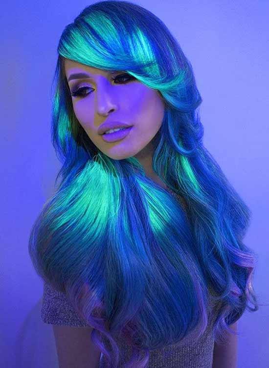 Blue glow in the dark Hair dye