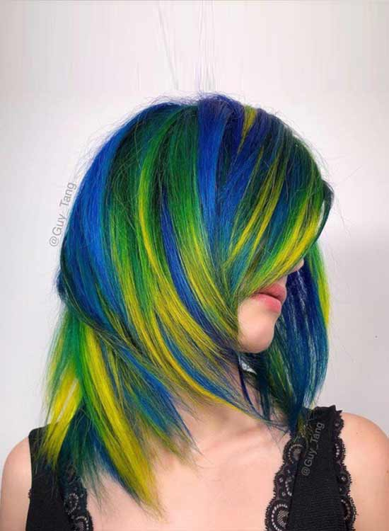 Blue, green and yellow highlights