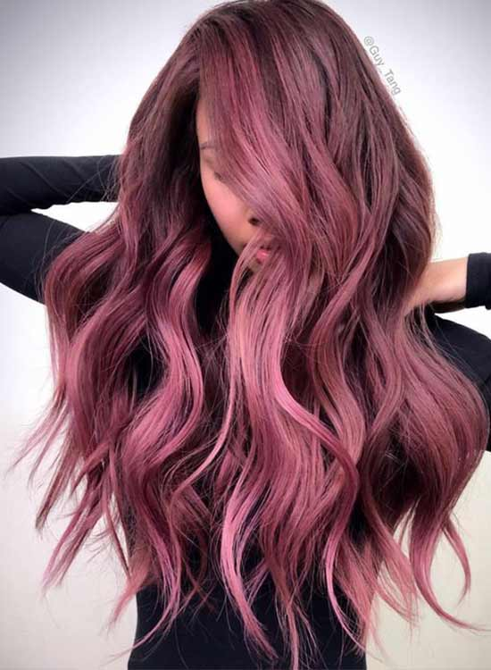 Deep Dark rose gold Hair