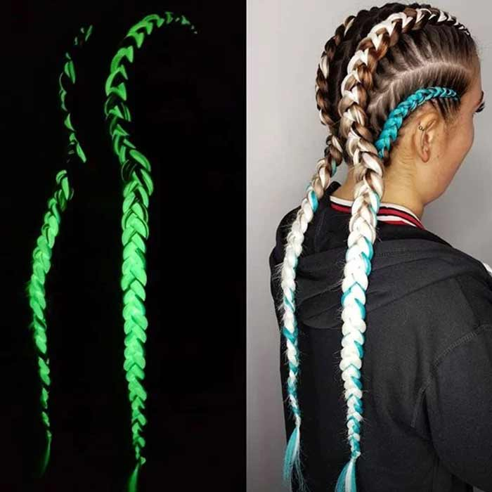Glow in the dark braiding hair