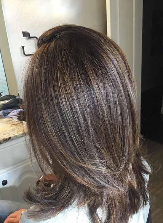 Grey hair and caramel highlights