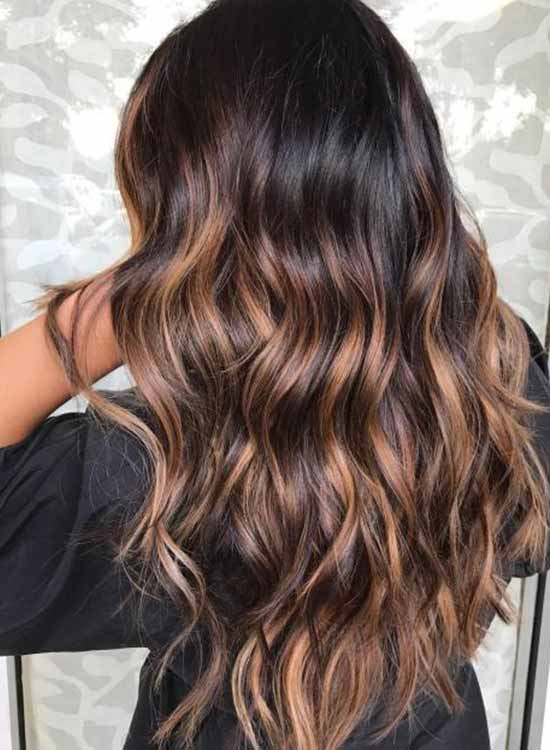Mocha highlights on dark brown hair