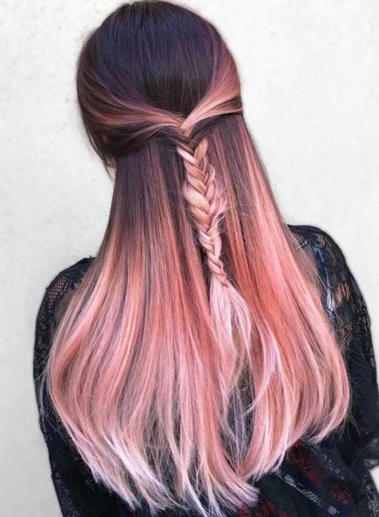 Long hair Pink rose gold