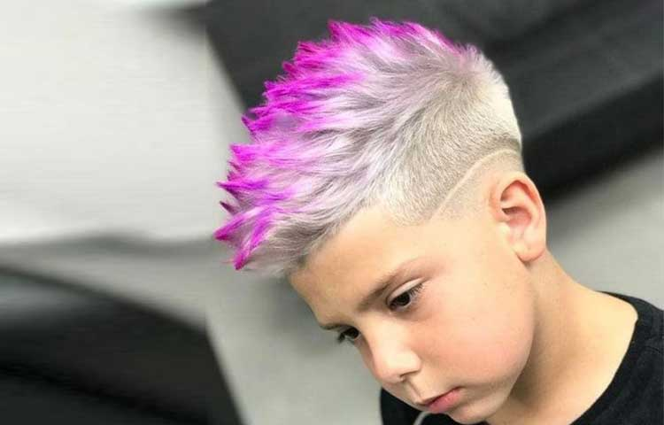 Temporary pink and purple hair color for boys