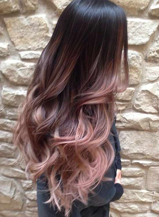 Rose gold ombre hair in picture