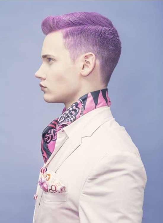 Short hair purple color men