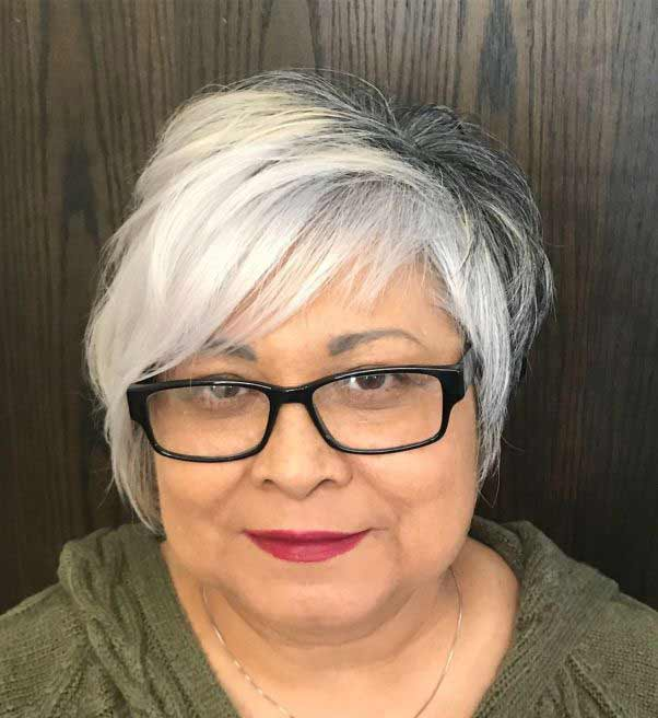Best short hairstyle for over 50 with glasses
